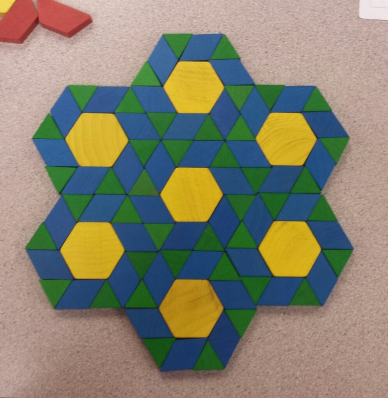 pictured above pattern created with pattern blocks in mth 495